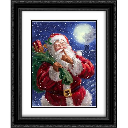 104 Matt - Santa on Blue with moon (Corti 104) 2x Matted 20x24 Black Ornate Framed Art Print by Corti, Marcello