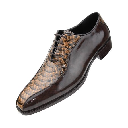 Bolano Men's Exotic Smooth Faux Snake Print Comfortable Lace Up Oxford Dress Shoe, Style Franz