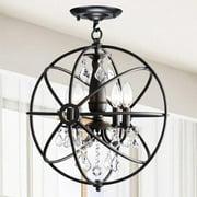 The Lighting Store Benita Antique Black 4-light Iron Orb Flush Mount Crystal Chandelier
