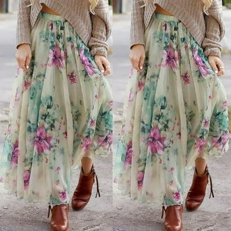 Gypsy Maxi - BOHO Womens Floral Jersey Gypsy Long Maxi Full Skirt Summer Beach Sun Dress
