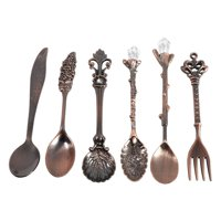 FAGINEY 6Pcs/Set Vintage Royal Style Metal Mini Coffee Spoons and Fork Kitchen Fruit Coffee Accessories, Retro Spoons forks , Spoons and fork