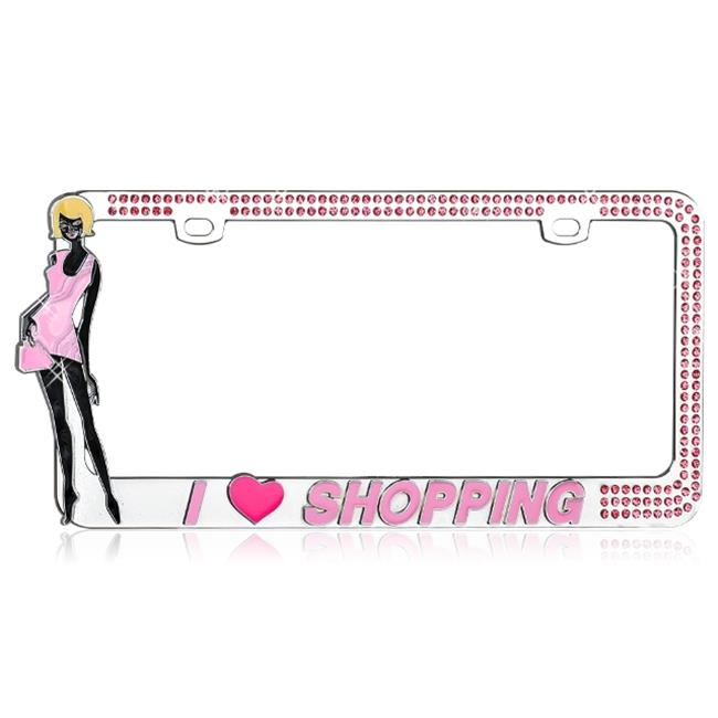 CarLashes®  LPF2MC019PNK License Plate - Studded with sparkling pink crystal