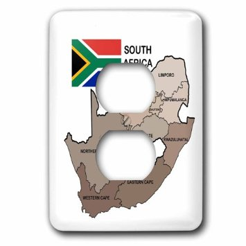 3dRose Political map and flag of South Africa with all the provinces identified by name., 2 Plug Outlet Cover