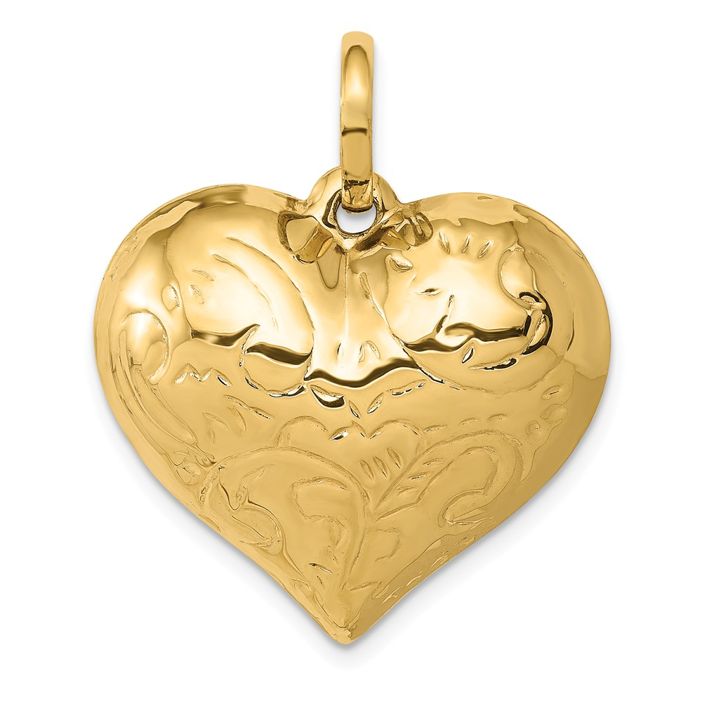 14k Yellow Gold Scrolled Puffed Heart Pendant
