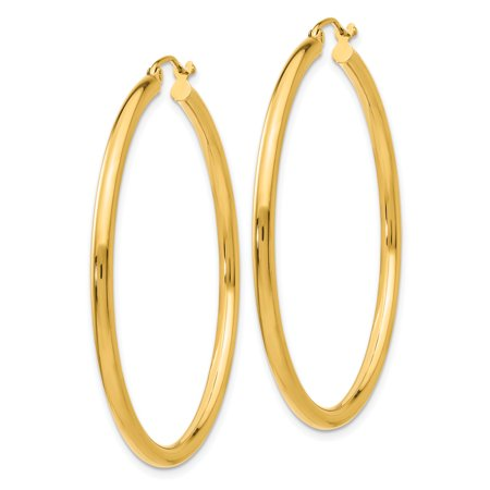 10k Yellow Gold 2.5mm Tube Hoop Earrings Ear Hoops Set Round Classic Fine Jewelry For Women Gifts For Her - image 2 de 7