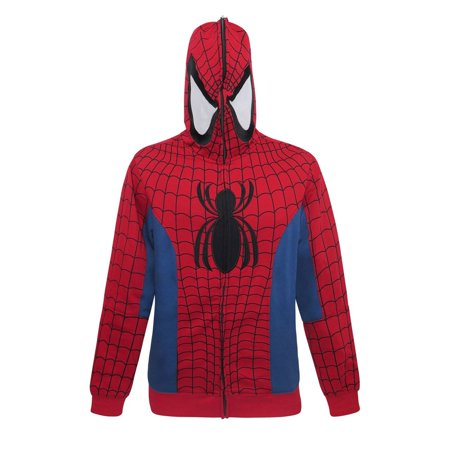 Spider-Man Full Zip-Up Costume Hoodie-Medium