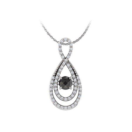 Black Onyx Cubic Zirconia Infinity Pendant 925 Silver - image 1 de 2