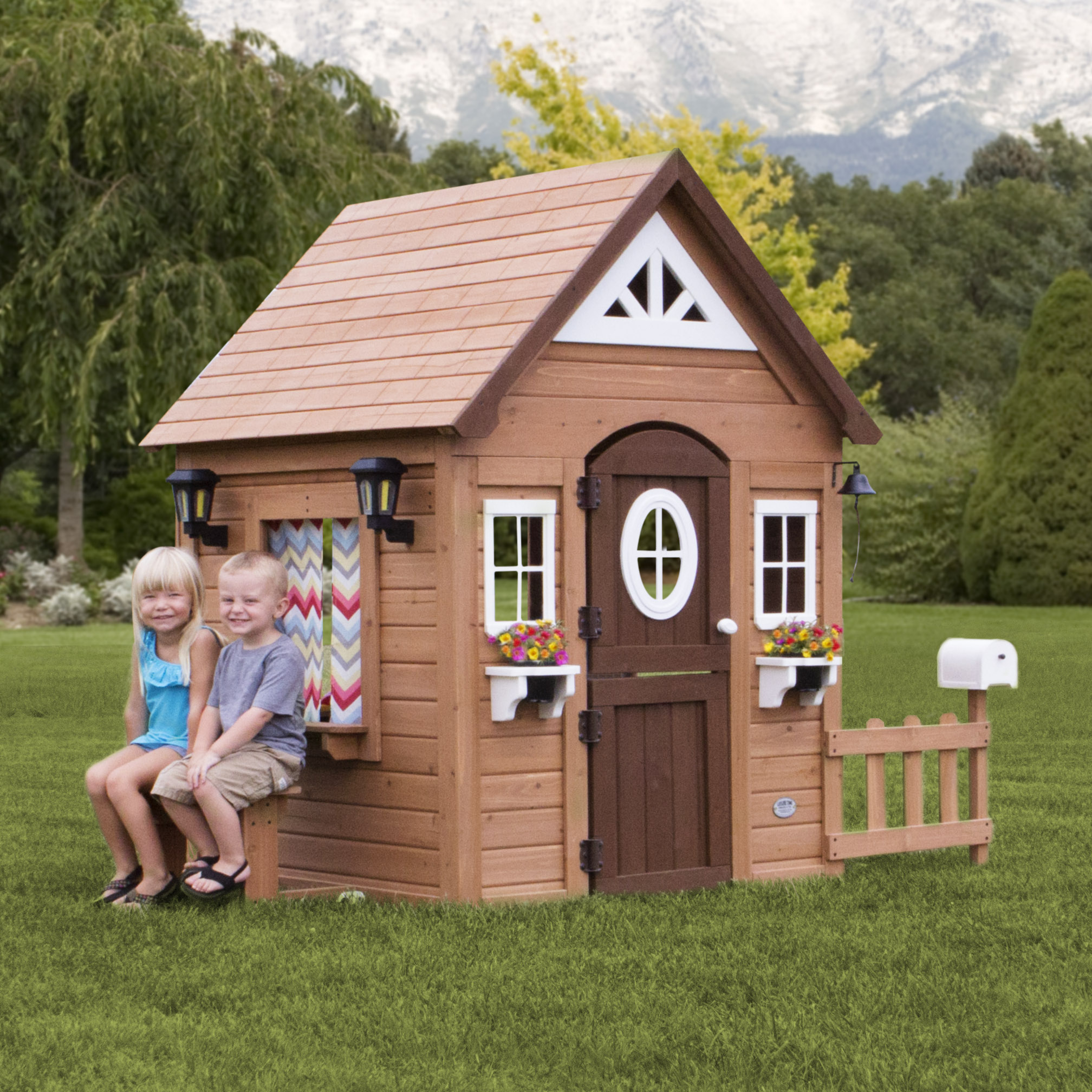 Backyard Discovery Aspen Wooden Cedar Playhouse Walmartcom