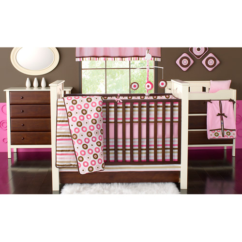 Bacati Mod Dots and Stripes Pink/Chocolate Girls 10pc Nursery-in-a-Bag Crib Bedding Set with Bumper Pad for US Standard Cribs