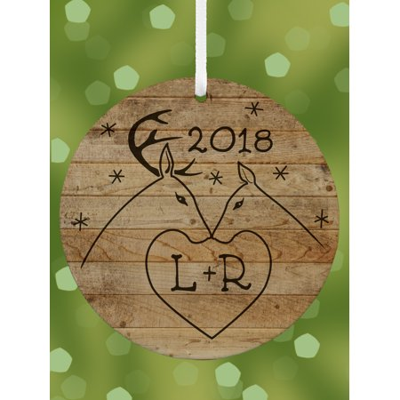 Couple Personalized Christmas Ornament (Personalized Rustic Deer Couple, Initial Round Christmas)