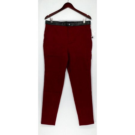 SA by Seth Aaron Pants Sz 14 Snake Embossed Ankle Faux Leather Trim Red A268978 ()