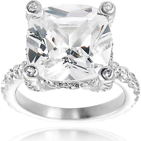 Image of Alexandria Celebrity Inspired Sterling Silver Cubic Zirconia Bridal Ring