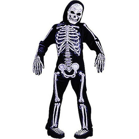 White Skelebones Child Halloween - Black Male White Female Halloween Costumes