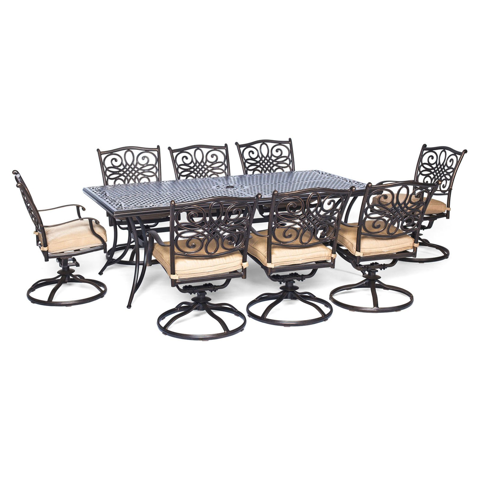 Hanover Outdoor Traditions 9-Piece Dining Set with Extra-Long Table and 8 Swivel Rockers, Natural Oat/Bronze
