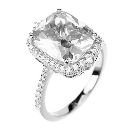 Radiant Solitaire Ring - 6.8ct Radiant Cut Solitaire w/Accent Engagement Ring Rhodium over Silver w/CZ (SIZE: 6)