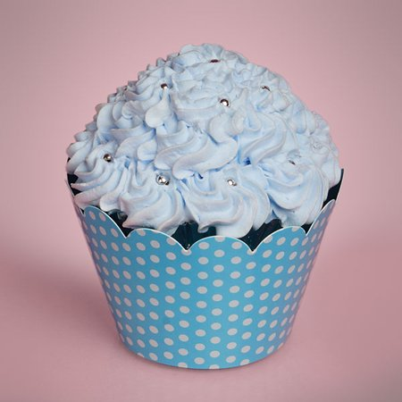 Turquoise Blue Polka Dots 1 Sided 50 pack 2 inches depth x 2 inches diameter Printed Paper Decorative Cupcake Wrappers