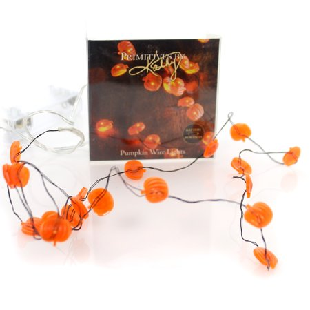 Halloween PUMPKIN WIRE LIGHTS 20 Plastic Battery Powered 29309 (20 Off Halloween City)