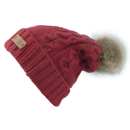 - Women's Fleece Lined Knitted Slouchy Faux Fur Pom Pom Cable Beanie Cap Hat