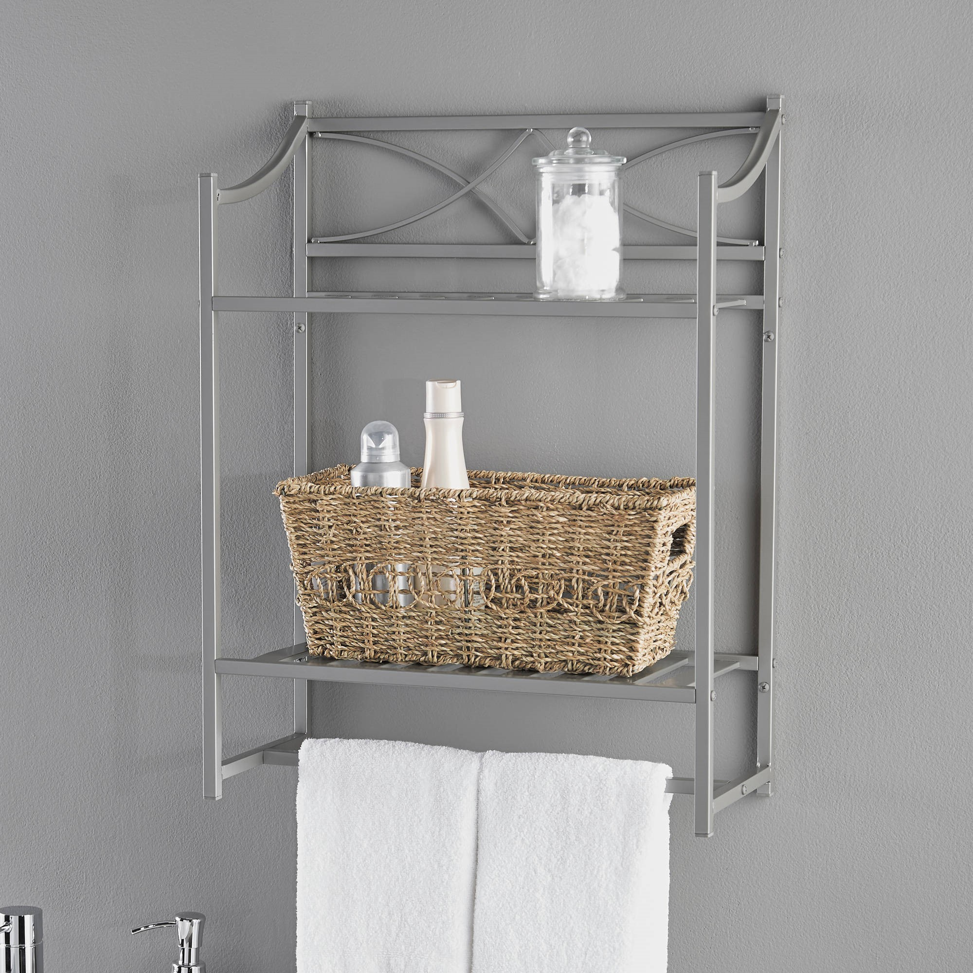 Gentil Chapter Lexington Park Bathroom Wall Shelf, Satin Nickel