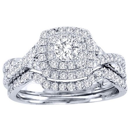 Ginger Lyne Collection Frances Exquisite Halo Pave Wedding Ring Set - Pave Wedding Ring