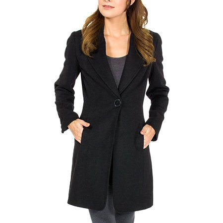 Alpine Swiss Stella Womens Wool Single Button Overcoat 7/8 Length Jacket Blazer Single Button Vest