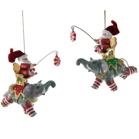 Santa Riding on Flying Circus Elephants Christmas Holiday Ornaments Set of 2
