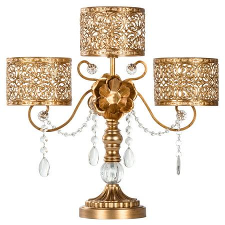 Bird Centerpiece Pillar Candle Holder (Amalfi Décor Antique 3 Pillar Crystal-Draped Hurricane Candle Holder Centerpiece (Gold) | Stainless Steel Frame with Glass Crystals )