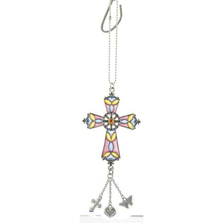 Glass Purple Cross - Orange Blue & Purple Stained Glass Cross Ornament by Ganz