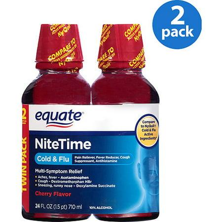 equate Nuit froide et la grippe cerise liquide, 2X12 oz