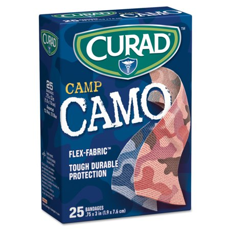 Curad Kids Adhesive Bandages, Pink and Blue Camouflage, 3/4