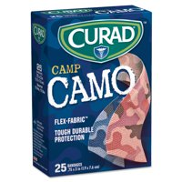 "Curad Kids Adhesive Bandages, Pink and Blue Camouflage, 3/4"" x 3"", 25/Box"