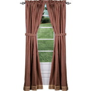 Berry Vine Check Lined Curtain Panels - Red or Black