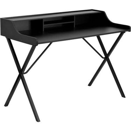 flash furniture writing desk with top shelf black. Black Bedroom Furniture Sets. Home Design Ideas
