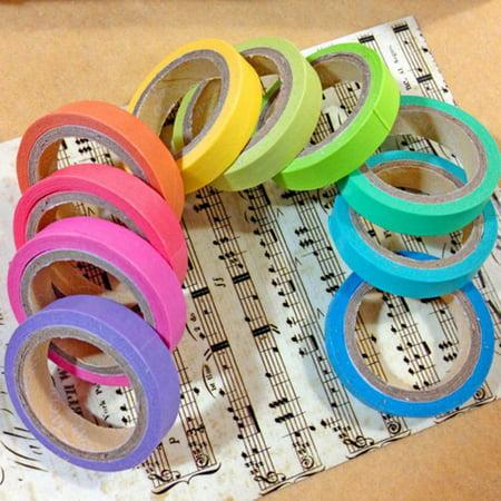10Pcs Paper Tapes Washi Tape Colorful Scrapbook Decorative Paper Adhesive Sticker DIY - Colorful Tape