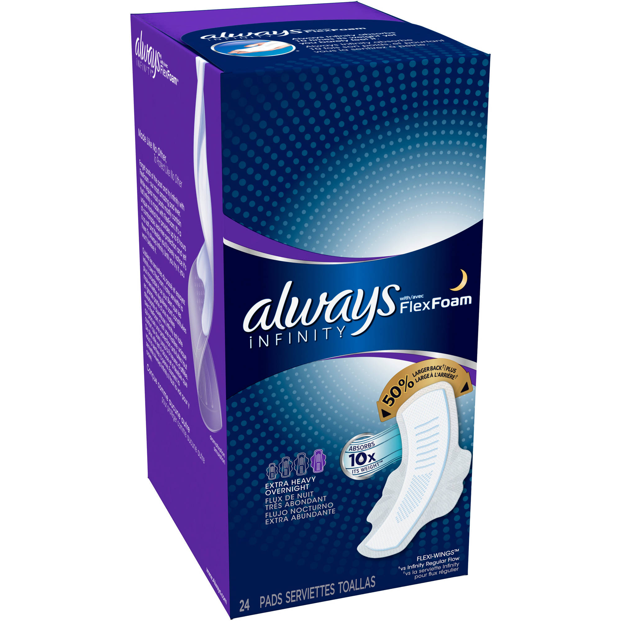 Always Infinity Extra Heavy Overnight Pads With Wings, 24 count
