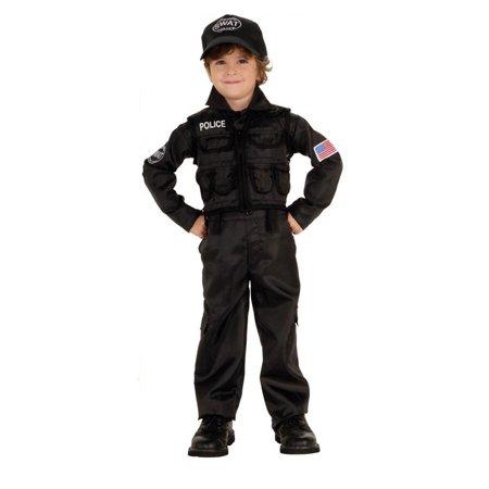 S.W.A.T. TEAM swat police boys costume LARGE - Swat Team Helmet