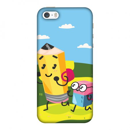 iPhone 5S Case, iPhone 5 Case - Cute Pencil & Eraser,Hard Plastic Back Cover, Slim Profile Cute Printed Designer Snap on Case with Screen Cleaning Kit](Iphone Eraser)
