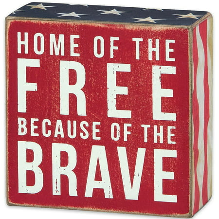 Patriotic Distressed Box Sign-wall, Desk, or Table Decor-