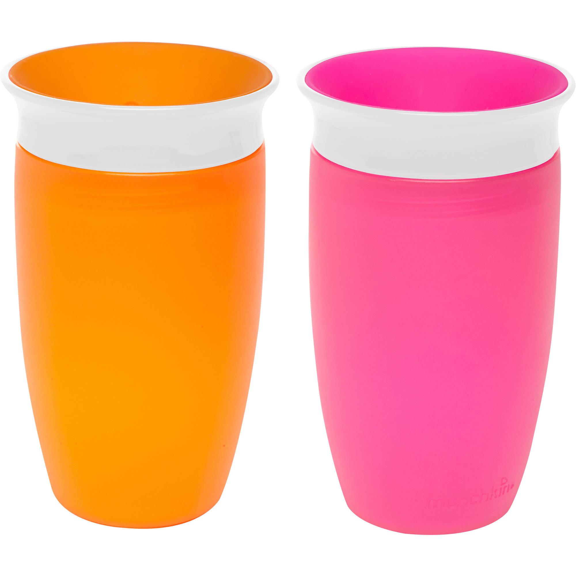 Munchkin Miracle 360 10oz Sippy Cup, BPA-Free, 2-Pack, Pink/Orange
