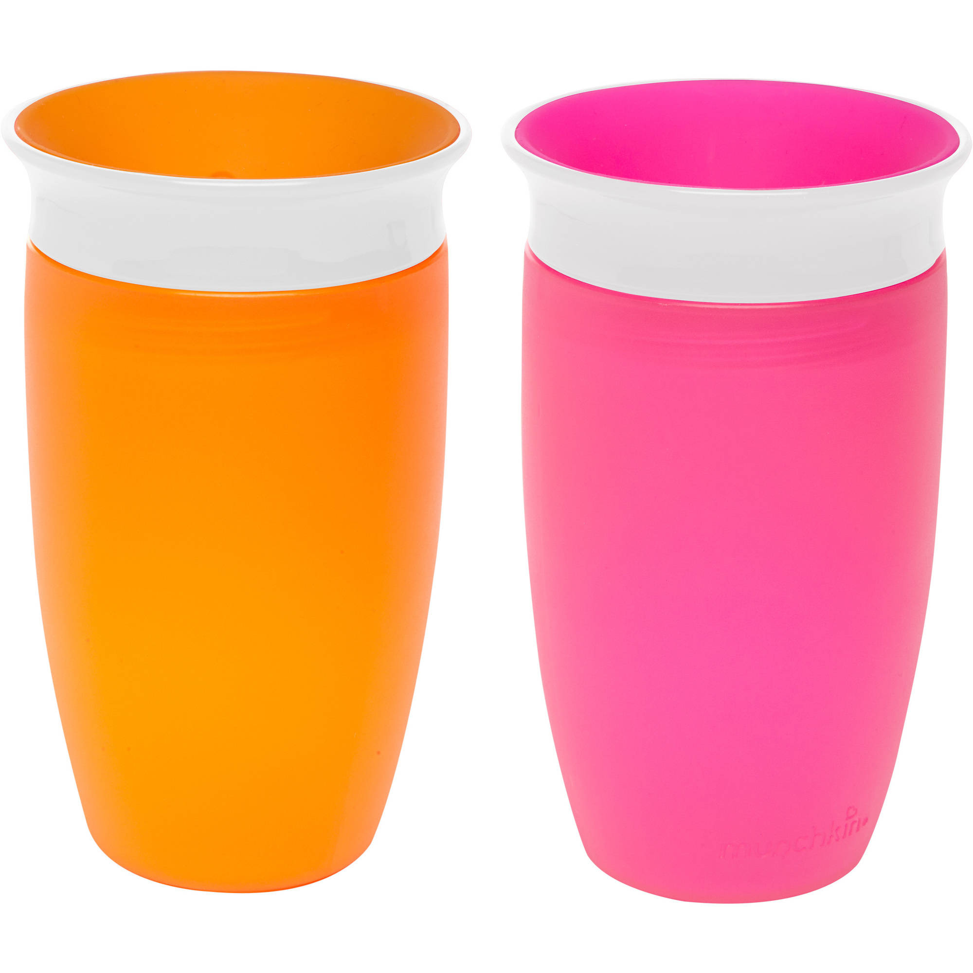 Munchkin Miracle 360 10oz Sippy Cup, BPA-Free, 2-Pack, Pink/Orange
