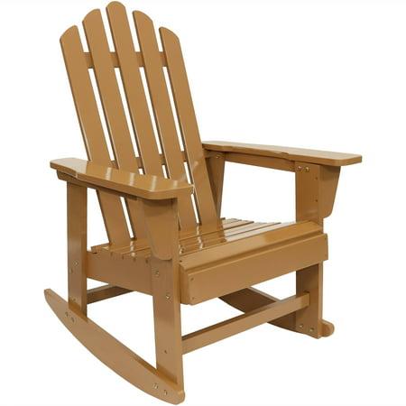 Sunnydaze Classic Wooden Adirondack Rocking Chair with Cedar Finish, 250-Pound Capacity
