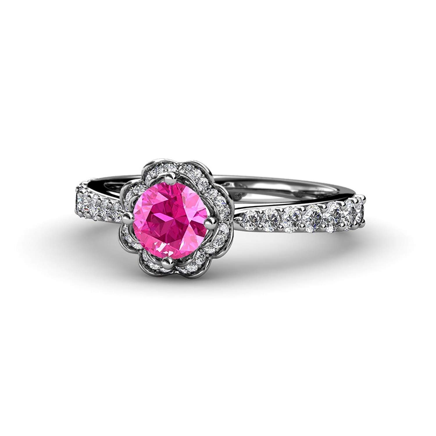 Pink Sapphire and Diamond (SI2-I1, G-H) Floral Halo Engagement Ring 1.33 ct tw in 14K White Gold.size 8.0 by TriJewels