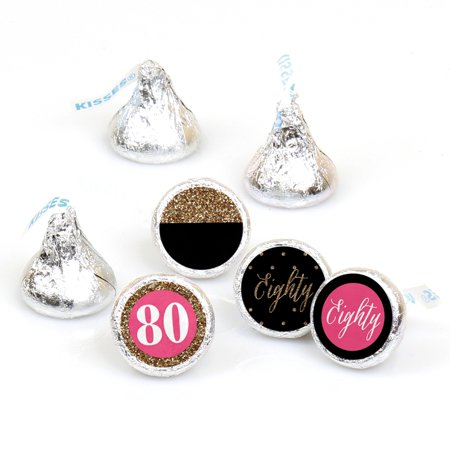 Chic 80th Birthday - Round Candy Sticker Favors - Fit Hershey's Kisses (108 ct)