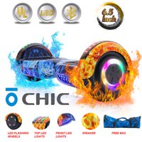CHIC® UL Certified Electric Hoverboard w/ 6.5in Wheels, LED Sensor Lights, LED Wheel Well Lights, Bluetooth Speaker; Ideal for Boys and Girls Flame Color (HB-Z29-FLAME3)