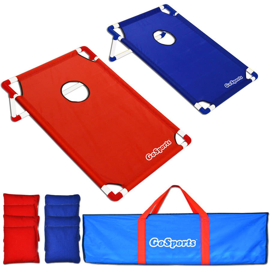 gosports portable pvc framed cornhole game set with 8 bean bags and carrying case - Corn Hole Sets
