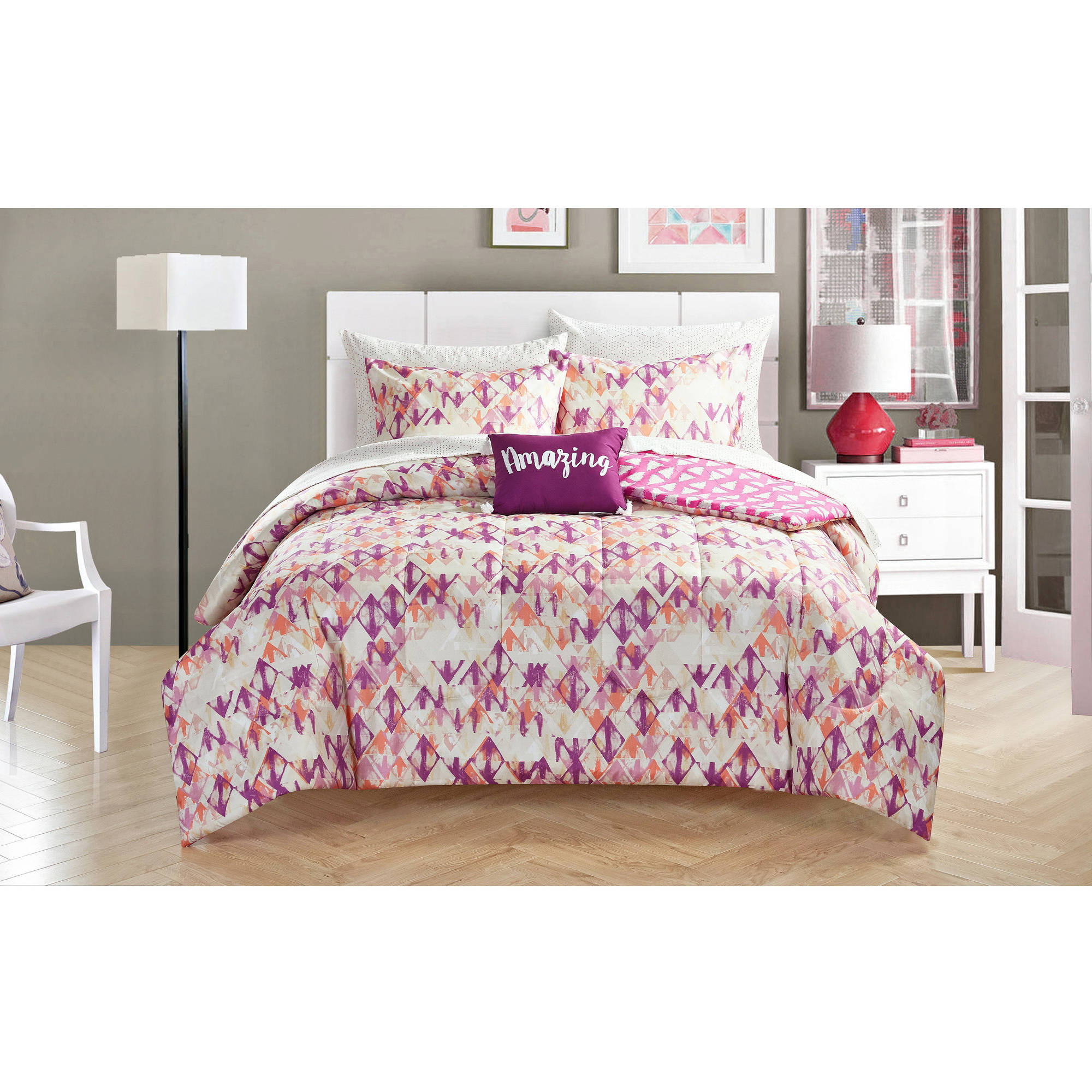 your zone magenta diamond bed in a bag bedding set