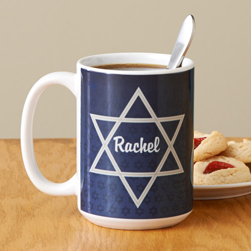 Personalized Star of David Coffee Mug, 15 oz