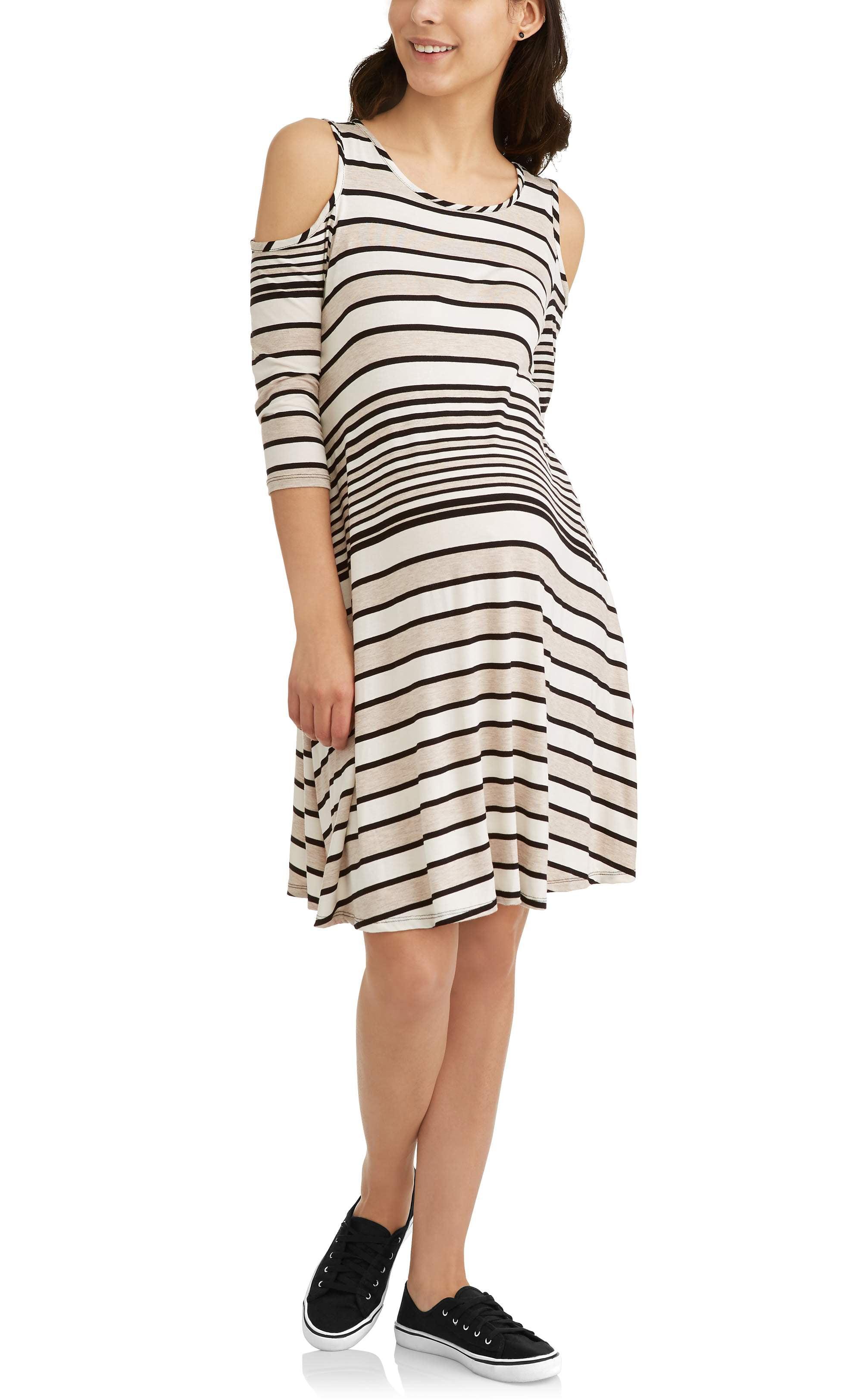 Maternity Cold Shoulder Stripe Dress by