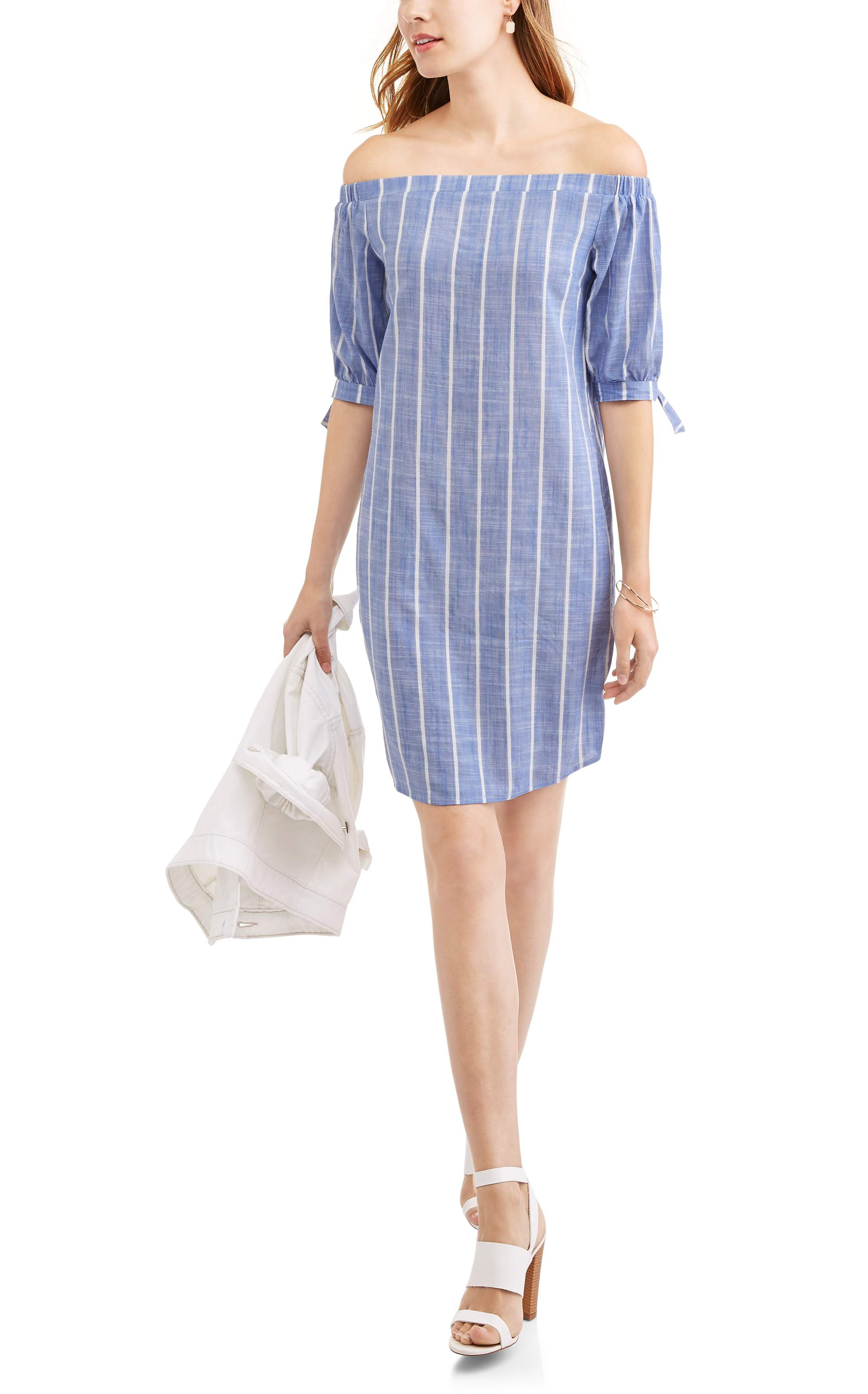 Whoa, Wait Women's Off the Shoulder Dress with Tie Sleeves