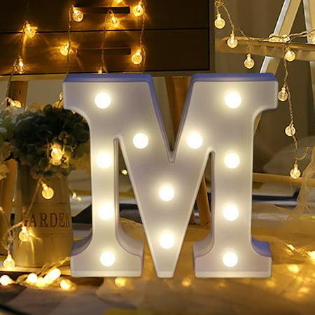 Iuhan Alphabet LED Letter Lights Light Up White Plastic Letters Standing Hanging M (Light Up Plastic)